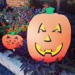 Scary plywood pumpkin
